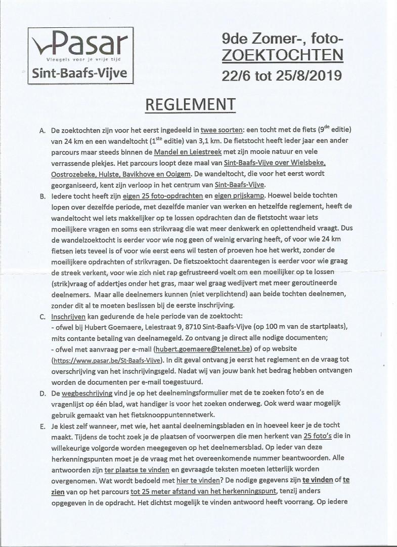 Reglement Zomerfotozoektochten 2019 Blad 1