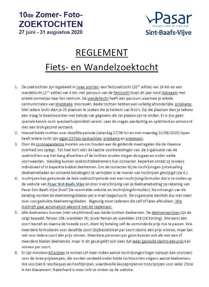 Reglement bladzijde 1