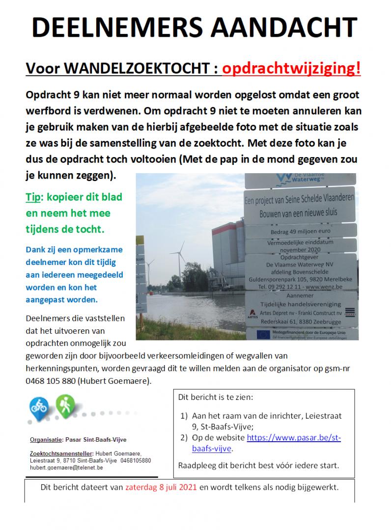 Wijziging opdracht 9 van de wandelzoektocht 08/07/2021