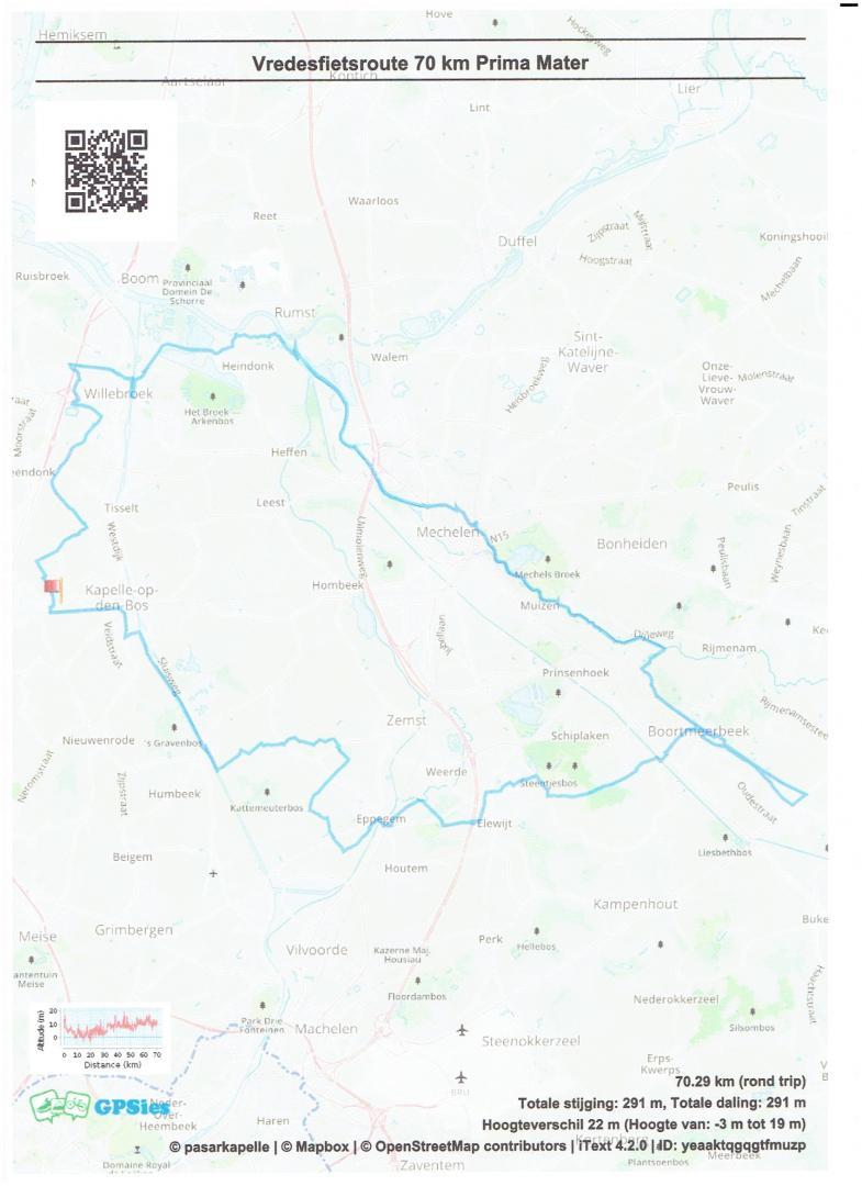 Vredesfietsroute 71 km Prima Mater Kapelle-op-den-Bos