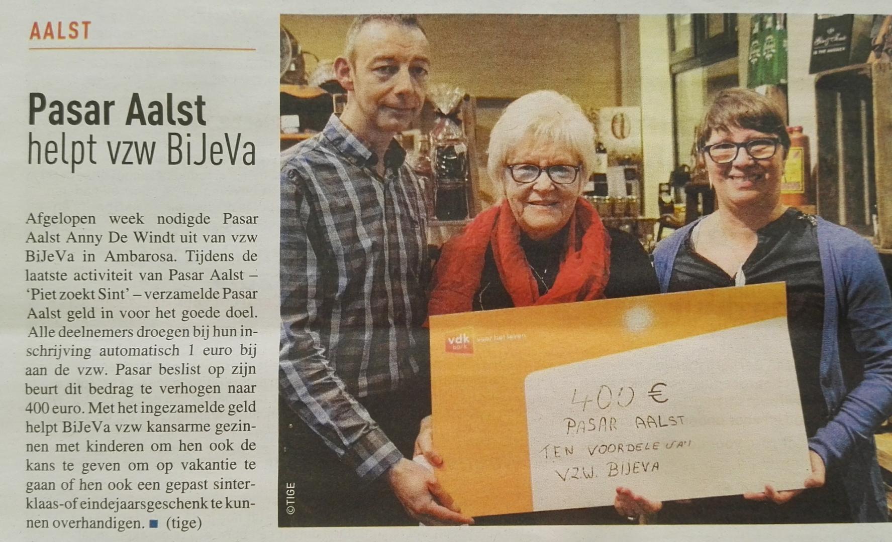 Pasar Aalst steunt BiJeVa